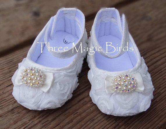 Baby Girl WHITE Satin Soft Rosette Crib Shoes by ThreeMagicBirds  via Jenny Pannaye