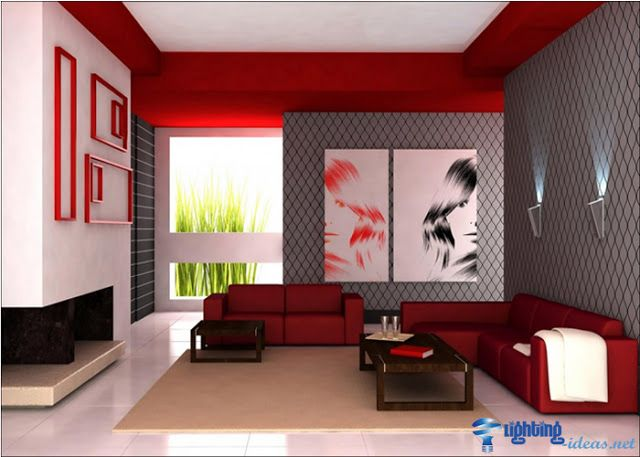 Amazing Red Living Room Decoration With Wall Lamps