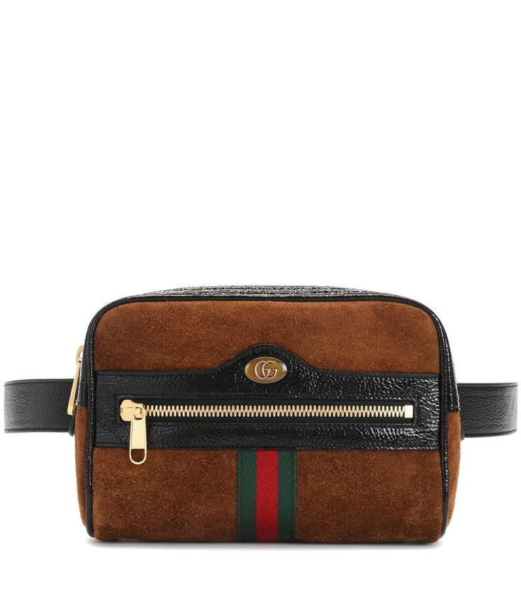 Gucci - Ophidia Small suede belt bag - Gucci's elegant Ophidia design is reworked into a 90's-inspired belt bag for SS18. Crafted in Italy from sumptuous chestnut hued suede, the compact style is complete with black patent leather trim, signature Web stripe detail and golden hardware to finish. Embrace this season's must-have silhouette, wearing yours high on the waist or slung crossbody for a sports-luxe finish. seen @ www.mytheresa.com