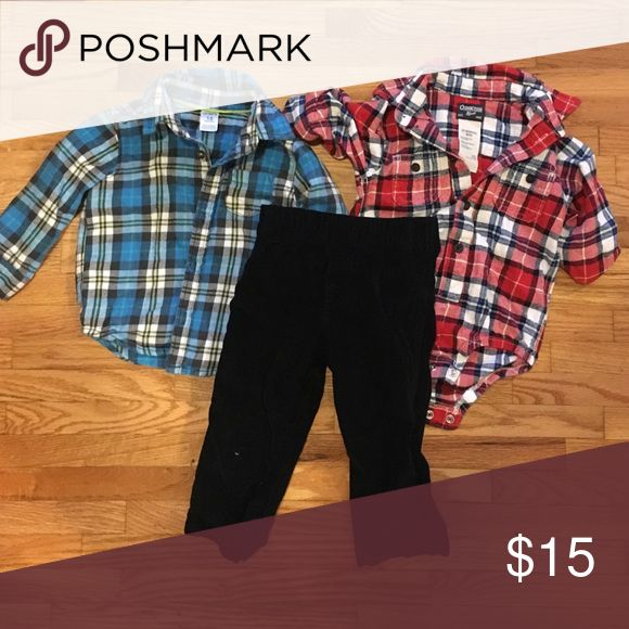 Flannel shirts with cord pant Two toddler flannel shirts with black corduroy pants. By Oshkosh and carters Shirts & Tops