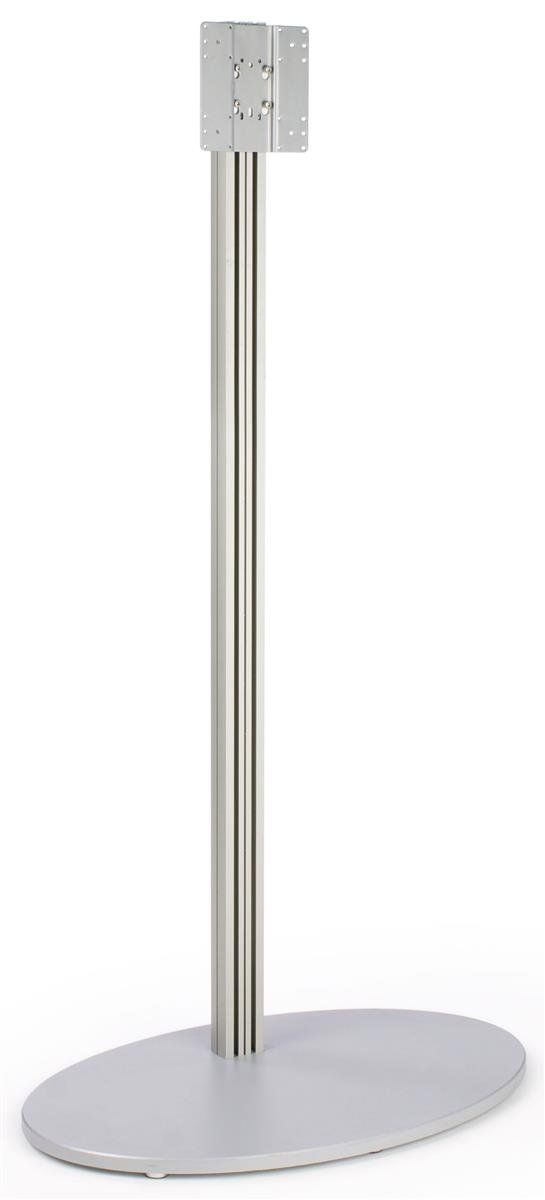 Monitor Floor Stand for a 32 to 60 inch Television, Oval MDF Base - Silver. For a monitor ranging in size from 32 inches to 60 inches, that weighs less than 70 pounds. VESA compatible with 200mm by 200mm. Oval MDF Base provides stability and style. Plastic strips are included to protect and conceal wires. Displays2go SKU#: AVAP200.