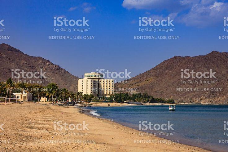 Khor Fakkan, UAE: Idyllic Beach and Hotel on Arabian Sea. royalty-free stock photo