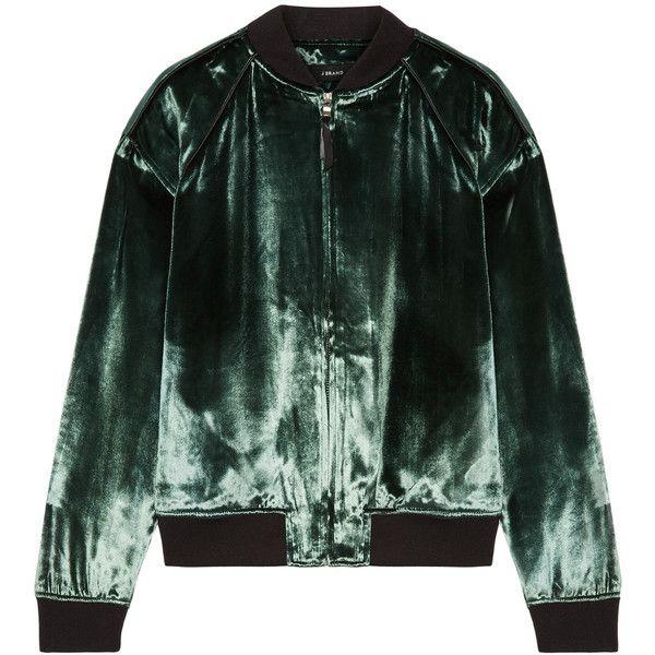 J Brand Pace velvet bomber jacket ($400) ❤ liked on Polyvore featuring outerwear, jackets, green, bomber style jacket, green jersey, zipper jacket, flight jackets and velvet jacket