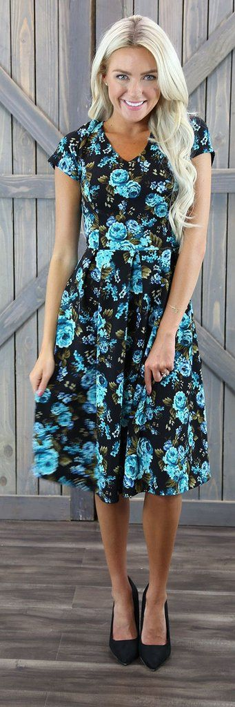 Amy Teal Floral Dress