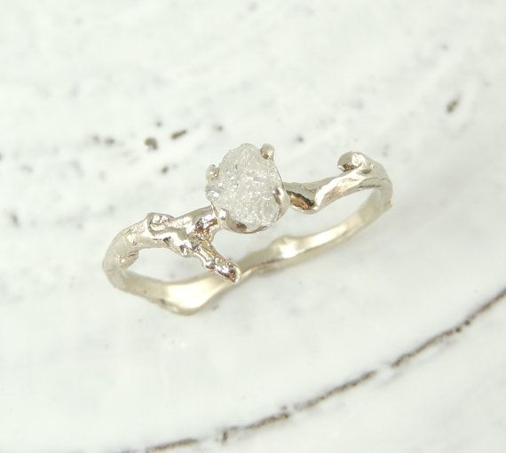 Uncut Diamond Branch Engagement Ring, Handmade Diamond Engagement Ring