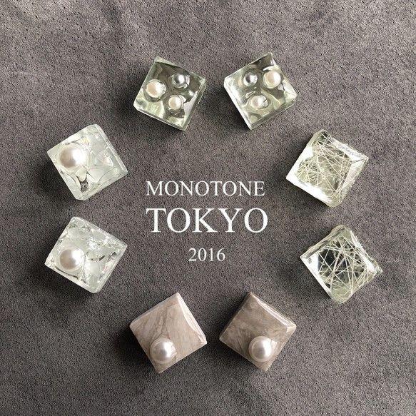 ガラスタイル&大理石タイルとパールのピアス&イヤリング ピアス MONOTONE TOKYO ハンドメイド通販・販売のCreema