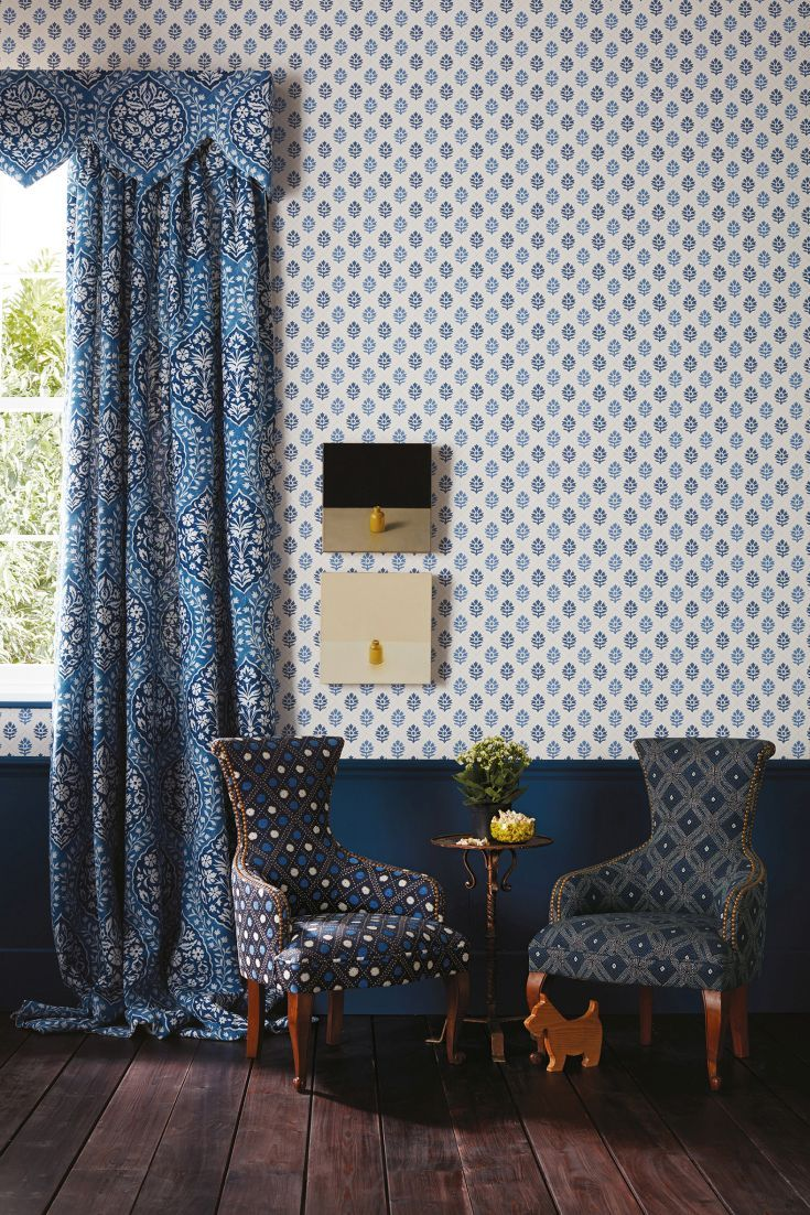 Camille by Nina Campbell Indigo / Blue Wallpaper