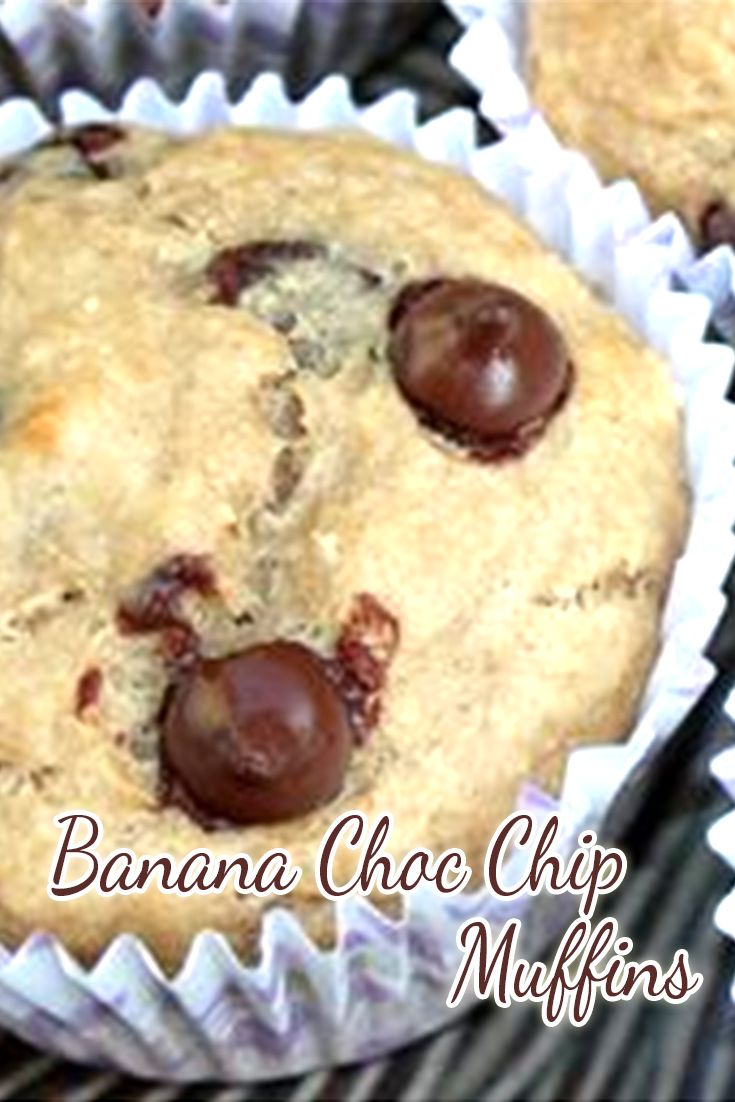 These banana choc chip muffins are so light and fluffy and moreish! The kids loved them, even my not so loving banana girl – perhaps it could have something to do with the chocolate?
