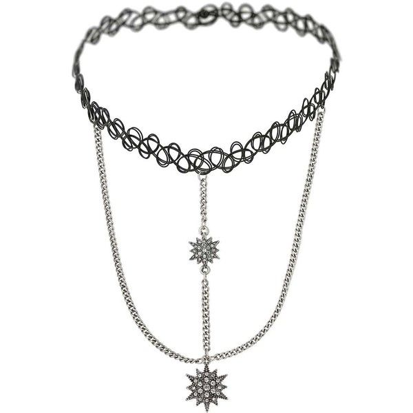 Miss Selfridge Star Drop Tatoo Choker (205 ARS) ❤ liked on Polyvore featuring jewelry, necklaces, black, miss selfridge, choker jewelry, tattoo choker, metal necklace and tattoo necklace