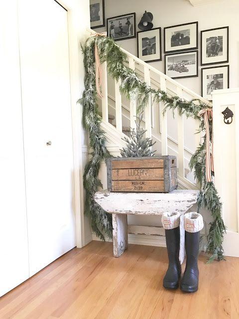 Cute stair wall idea for a gallery wall Little Farmstead: A Farmhouse Christmas Blog Tour...