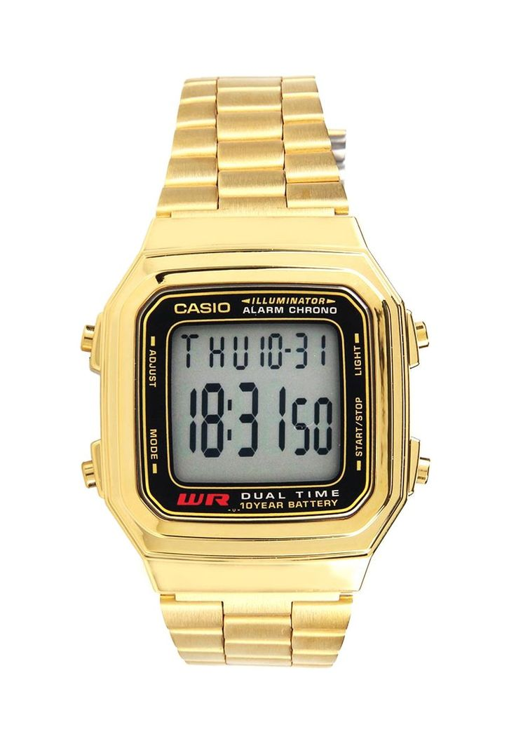Gold A178WGA-1ADF watch by Casio. Watch made from stainless steel with gold color, stainless steel strap, gold color, digital, fold over clasp, with features dual time, daily alarm, stopwatch, accuracy +/- 30 seconds per month, Auto calendar, LED light afterglow. Gold watch that will bring your outfit to the new whole level.  http://zocko.it/LEHI3