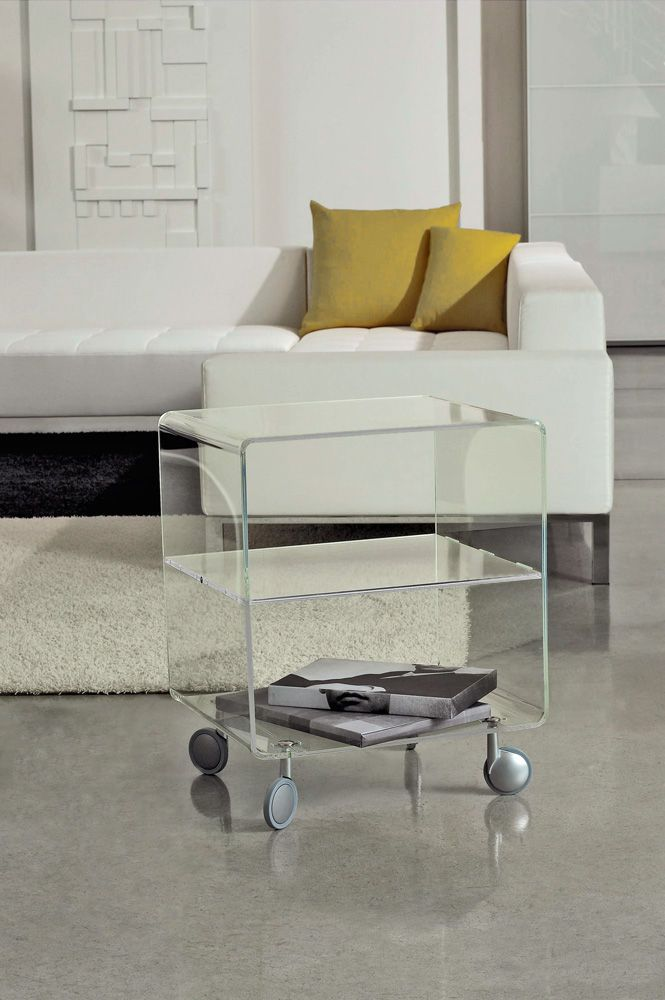 Acrylic coffee table with casters  weightless furniture as it is