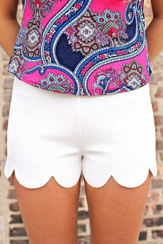 I don't like high waists, but the rest is cute!  Scalloped Hem High Rise Shorts | http://uoionline.com: Womens Clothing Boutique #recipe #2014 #delicious