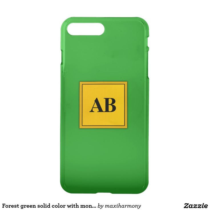 Forest green solid color with monogram iPhone 7 plus case