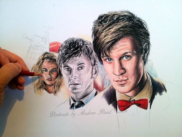 Working on a Dr Who colored pencil drawing.