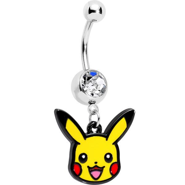 Officially Licensed Pokemon Clear Gem Pikachu Dangle Belly Ring