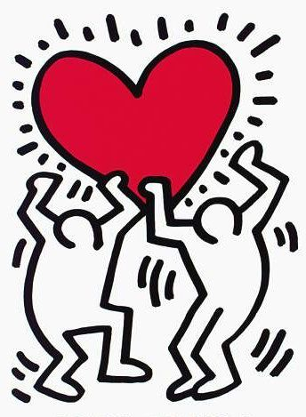 Men Holding a Heart by Keith Haring [Keith_Haring035] - $129.00 ...