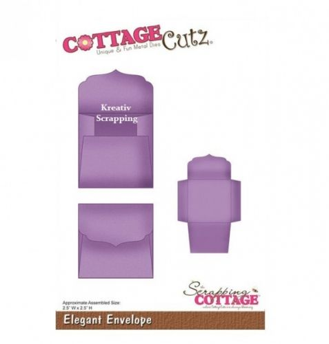 COTTAGECUTZ - CX010 - ELEGANT ENVELOPEDe er enkle å bruke og du får flotte detaljer til dine prosjekter.  Approximate Assembled Size:2-1/2x2-1/2 inches.COTTAGE CUTZ: Cottage Cutz Die. With design styles that are cute and adorable; fun and whimsical; and classically elegant these universal wafer-thin dies make a great addition to your paper crafting supplies. Cut amazing shapes out of paper; cardstock; adhesive-backed paper; vinyl; vellum and more. They are ...