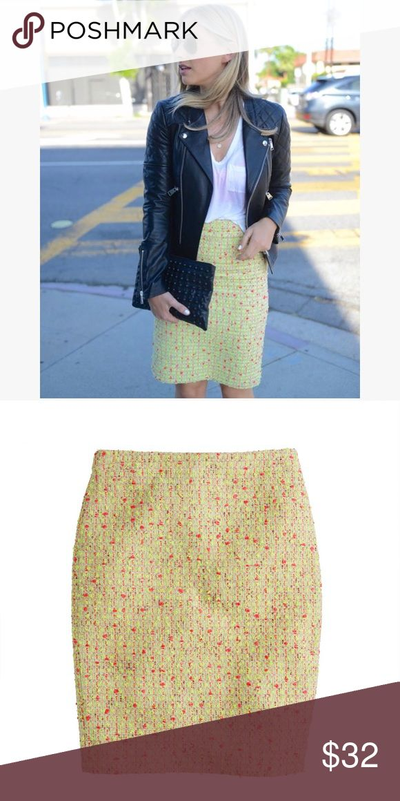 """J. Crew Neon Tweed Pencil Skirt Pom-pom yarns are woven into the tweed to give it a touch of texture. Polyamide/cotton/poly. Sits at waist. 23 1/2"""" long. Back zip with hook-and-eye closure. Lined. Gently worn. Great used condition. J. Crew Skirts Pencil"""