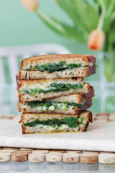 grilled cheese with garlic confit and baby arugula