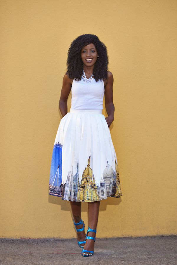 Tank Top Scenic Print Midi Skirt Goddess Fashion Diary Pinterest