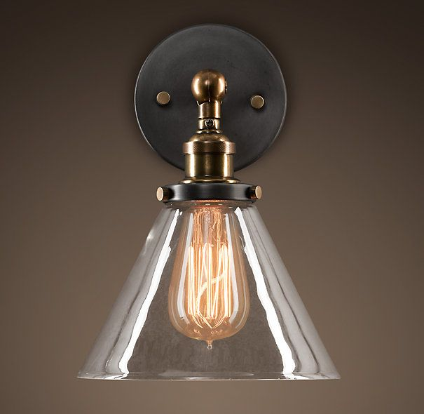 20th C. Factory Filament Glass Funnel Sconce