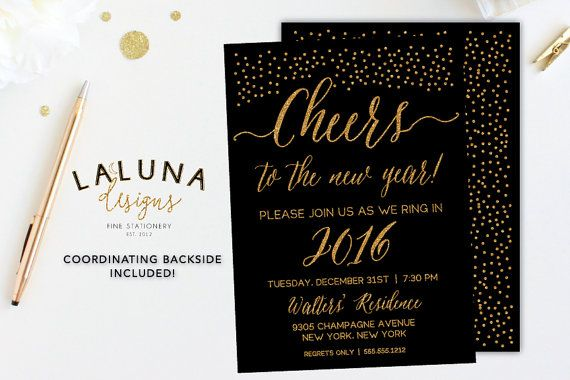 New Years Eve Invitation, New Years Eve Party, New Years Eve Invites, New Years Invites, New Years Eve Printable, Gold Glitter, Confetti