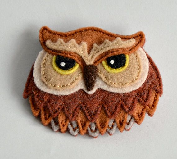 Felt Owl Brooch / Pin Hand Stitched from by CreaturesInStitches