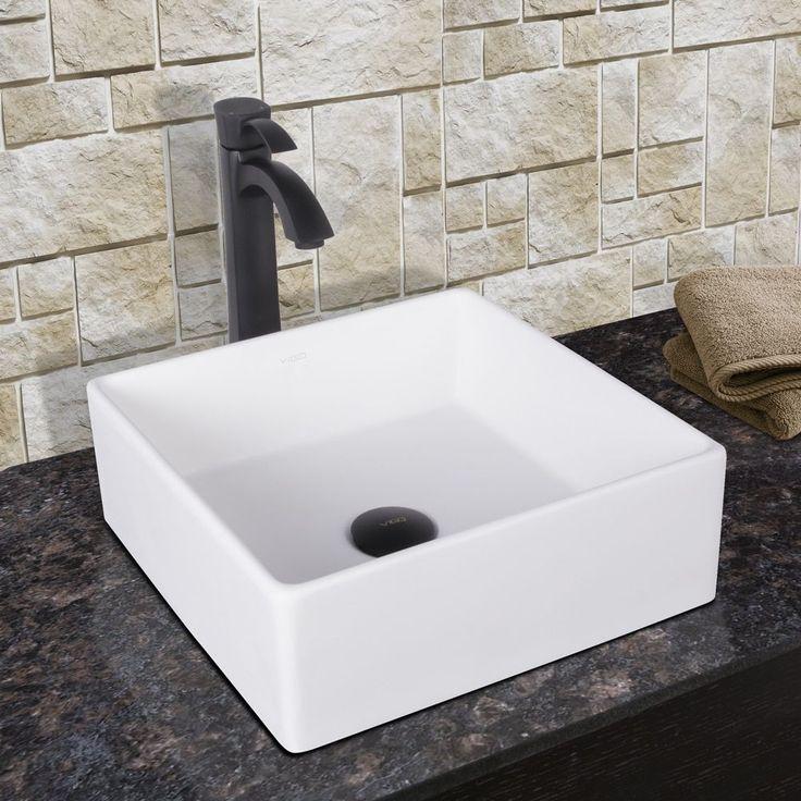 Vigo Bavaro Composite Vessel Sink and Otis Bathroom Vessel Faucet in Matte Black (Vigo Bavaro Composite Vessel Sink and Otis Faucet)