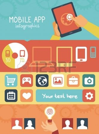 Vector concept - mobile app development infographics in flat style with social media and technology icons #flatdesign #vector #icon #webdesign #mobile #app
