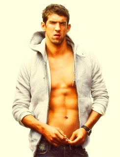 Michael Phelps: I've had a crush on him since I first saw him at the 2000 Olympics when I was TEN.  I also have an unhealthy obsession with his V Bones...