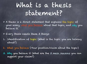 This powerpoint presentation explains what a thesis is and includes step-by-step directions for writing one yourself. It then does the same thing for topic sentences and explains their importance and the differences between them.It also includes an activity where I put students into groups of 3-4 students, give them an essay prompt, and have them come up with a thesis statement together.