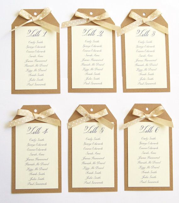 Rustic Polka Dot Tag Wedding Table Plan Seating by STNstationery