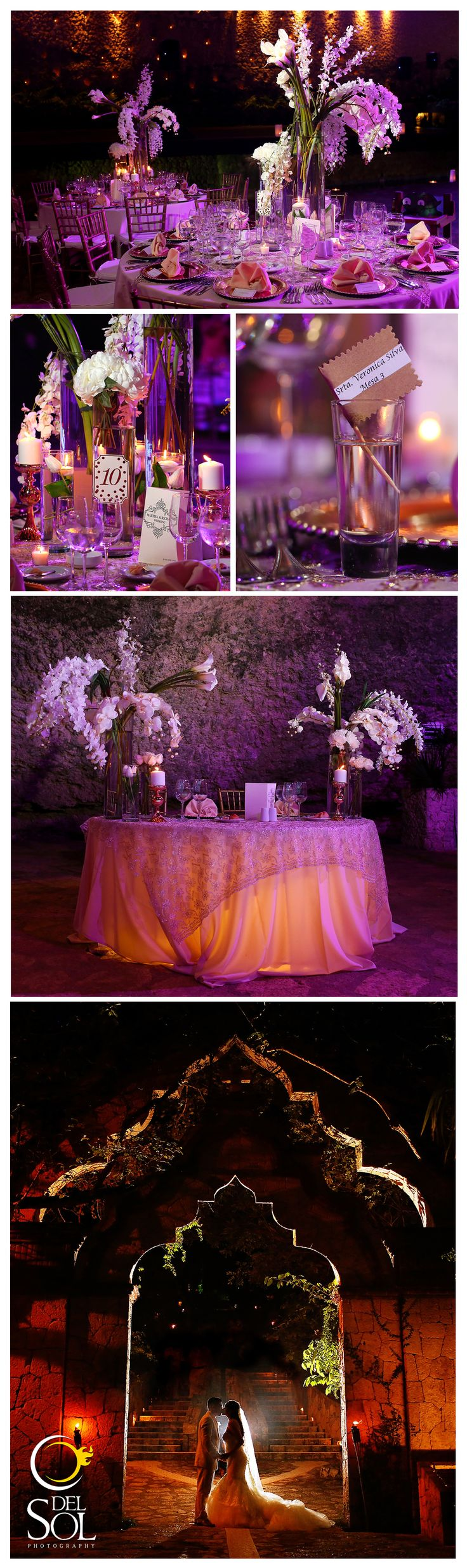 Beautiful, luxurious table set ups with cute tequila place names.  Wedding reception at La Isla Restaurant, Xcaret, Playa del Carmen Mexico
