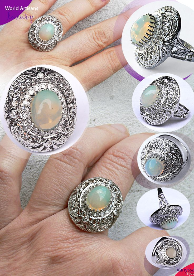 Welo Opal from Ethiopia Art Deco 925 Ring