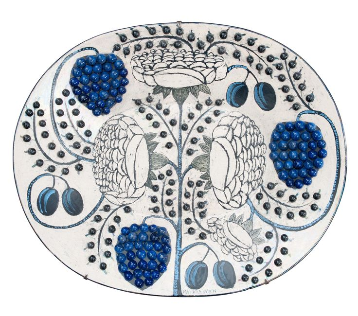 BIRGER KAIPIAINEN, A CERAMIC DISH. Signed Kaipiainen, Arabia. Multicoloured decorations of flowers and fruits and ceramic pearls. Early 1970s. Width 62 cm.
