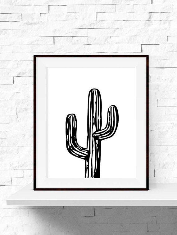 Cactus Print, Cactus Plant Garden Art Print, Cactus Printable, INSTANT DOWNLOAD, Home Decor, Printable Cactus Art, Black and White Wall Art