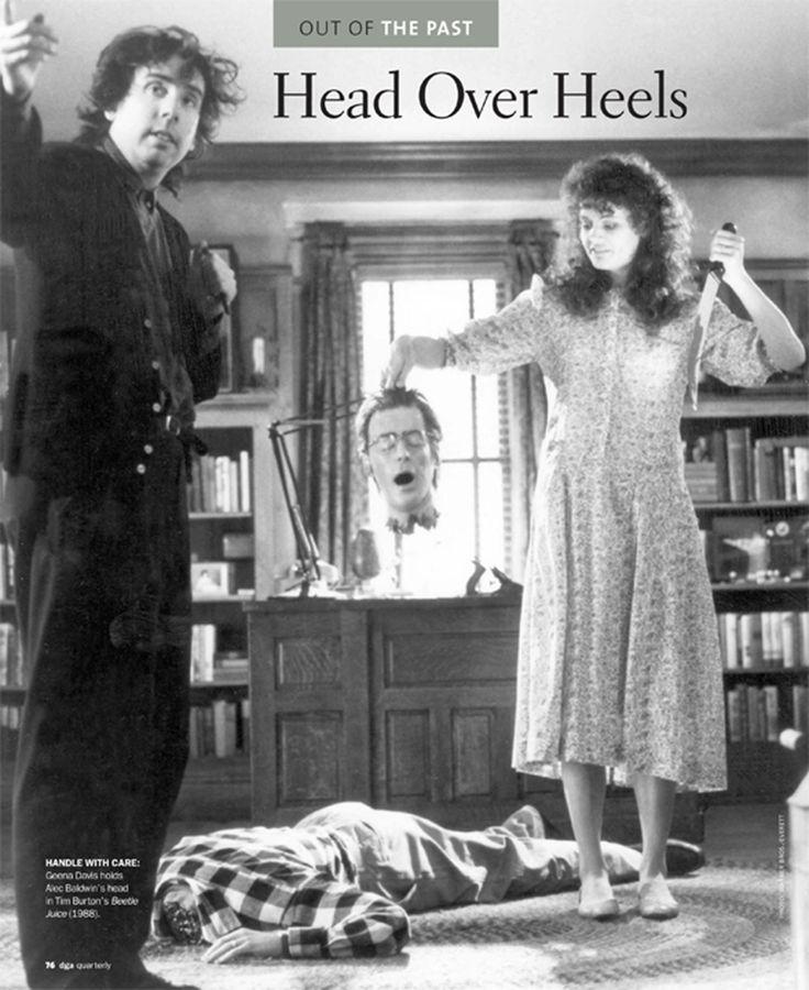 Geena Davis holding Alec Baldwin's head in Tim Burton's Beetlejuice