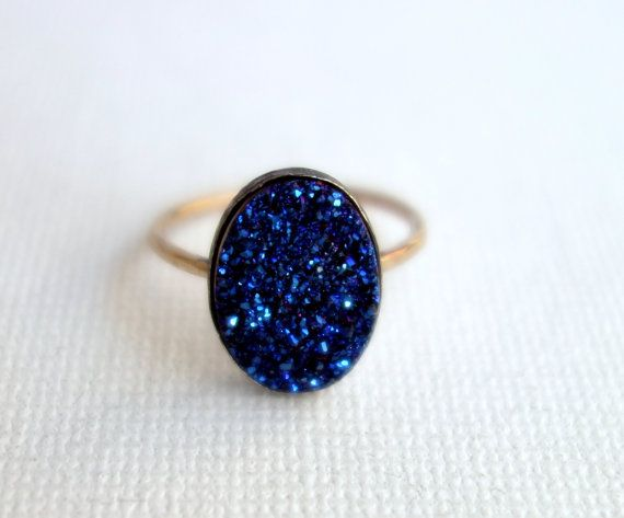 Midnight Blue Drusy Ring on 14k GoldFill by RachelPfefferDesigns