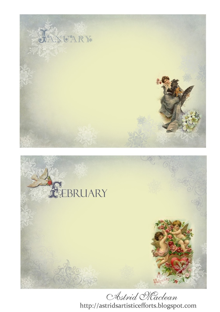 Calendar pages, free for personal use, more to follow in the weeks to come. Further info on my blog