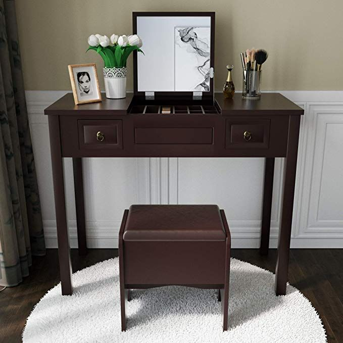 Amooly Vanity Set With Flip Top Mirror Makeup Dressing Table Writing Desk With 2 Drawers Cushio Dressing Table Writing Desk Storage Stool Makeup Dressing Table