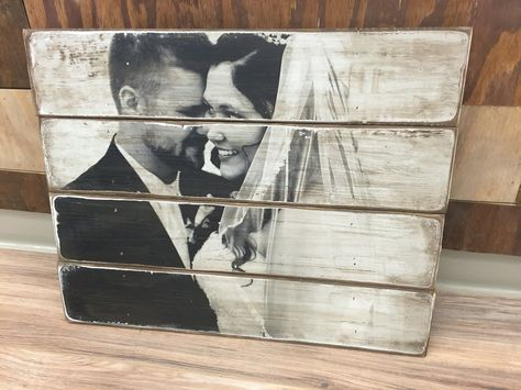 A custom photo pallet is an amazing way to display your favorite photos for your home in this rustic one of a kind display. Wood photo transfer. Wood photo pallet. Home decor. Wedding gifts. Nursery gifts. Engagement Gifts. Customized gifts. Photos on wood.