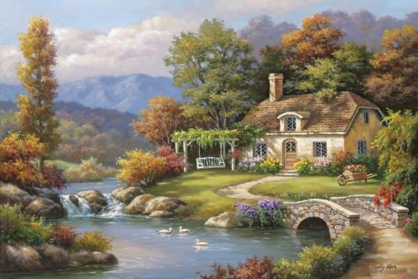 Sung Kim - Cottage Stream - Fine Art Print - Global Gallery
