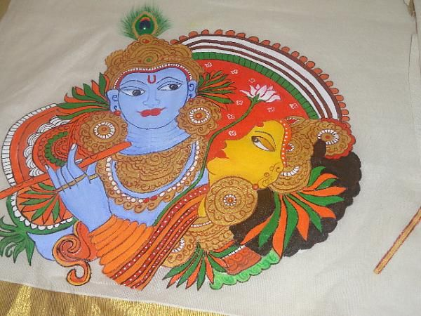 Mural Painting - Krishna and Radha - On a Kerala Saree ...