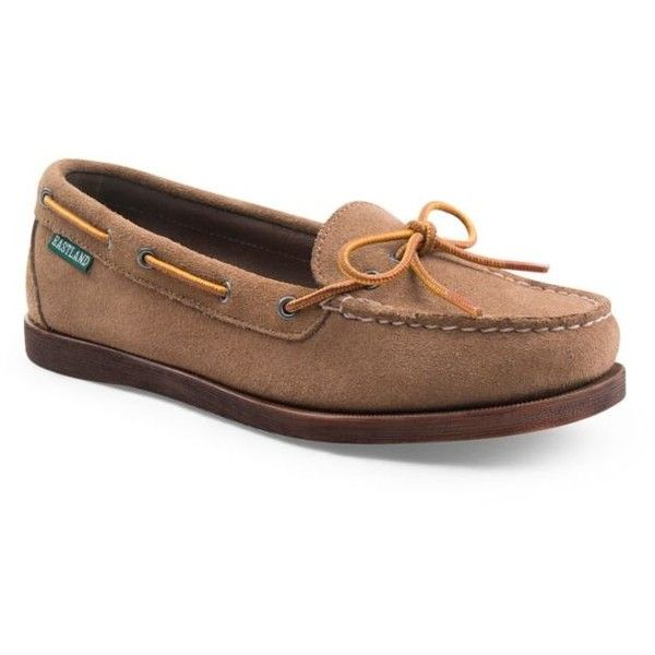 Eastland Khaki Suede Seneca Moccasin - Women's ($90) ❤ liked on Polyvore featuring shoes, loafers, khaki suede, mocasin shoes, moccasin style shoes, mocassin shoes, suede shoes and eastland moccasins