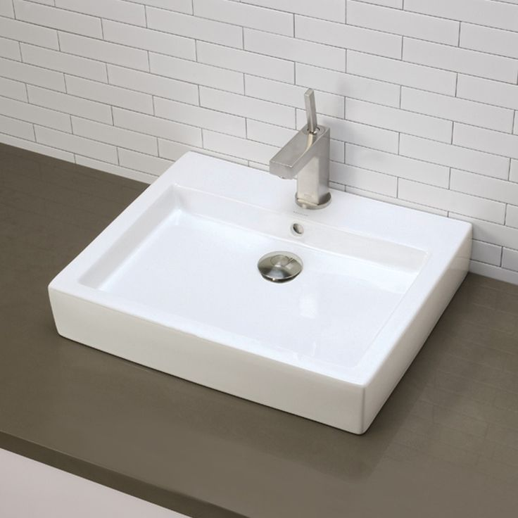 Pic Of Shop for the DecoLav Ceramic White Classically Redefined Rectangular Vitreous China Vessel Lavatory Sink with Overflow and Single Faucet Hole and save