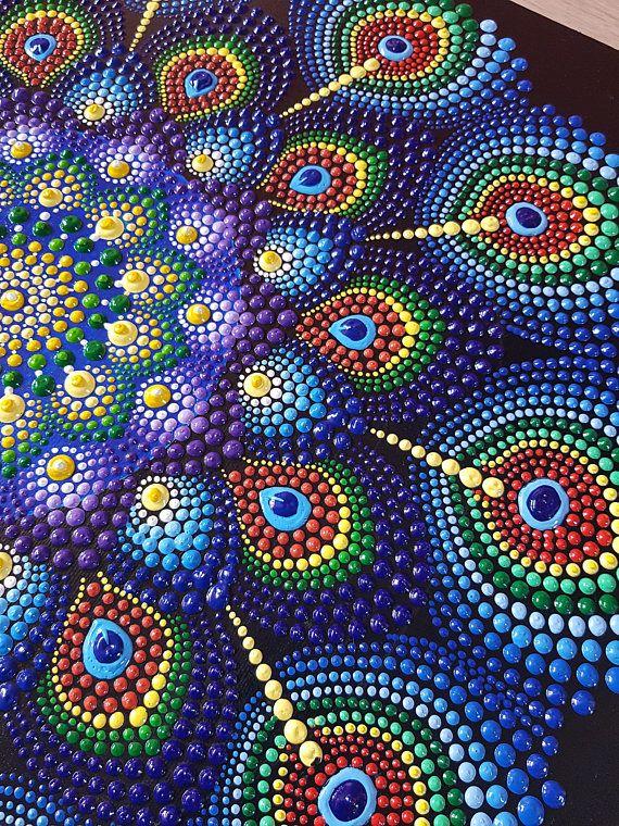 Dot Mandala Painting Original Art Red Blue Purple Dot Art-Dottilism-Hand Painted Acrylic Wall Art