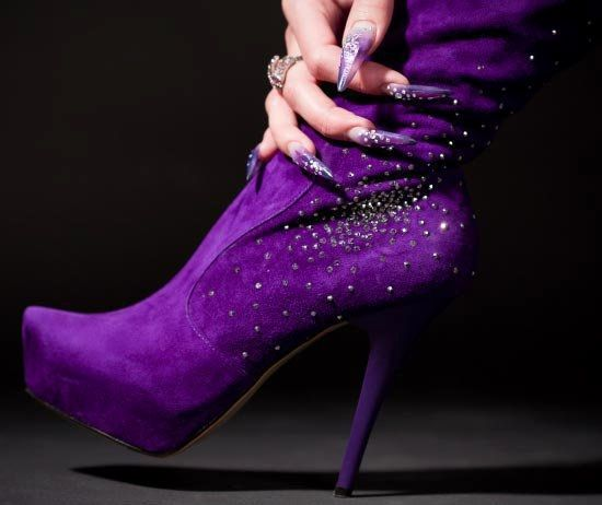 """Purple boot ~ The colour is to die for, sparklies, oh, boy, then we arrive at the skyscrpaer heels, which make me weap! :""""("""