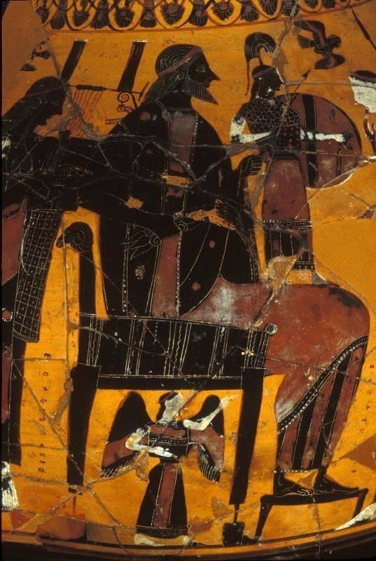 Birth of Athena Vase Figure from Attica - detail Zeus, Athena and Apollo, circa 550-520 BC - at the Penn Museum