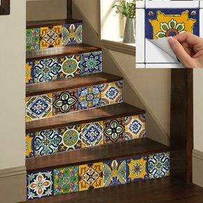 Tile Stickers Vinyl Decal WATERPROOF REMOVABLE for kitchen bath WAL floor or stair: Mexican Mix Decals Tr002 – Petra